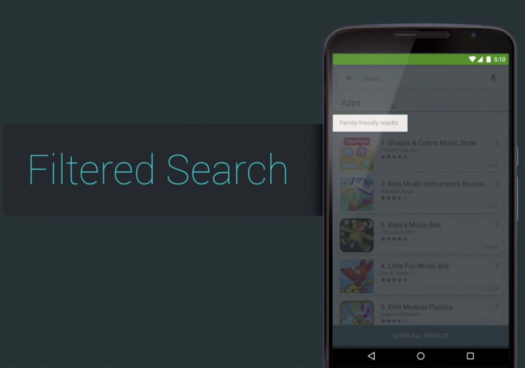 Filtered Search results for apps and games in the Designed for Families program for Google Play.