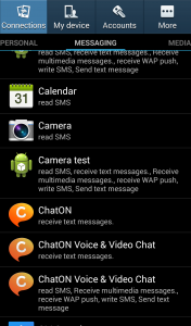 Apps under Messaging have access to your messages (send/receive sms/mms)